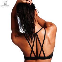 Wholesale Cross Strap Bra - OVESPORT New Sexy Sports Bras Women Back Cross Strap Bra Mesh Breathable Fitness Padded Push Up Yoga Bras Running Underwear 2017