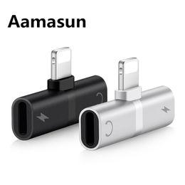 усилитель громкоговорителей для компьютера Скидка Аудио адаптер для iPhone 7 8 Plus X зарядки / аудио 2 в 1 зарядное устройство кабель адаптер для молнии разъем для наушников AUX кабель