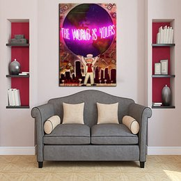 Wholesale modern large canvas oil paintings - Alec Monopoly The world is yours Handcraft,Portrait MODERN ABSTRACT LARGE ART OIL PAINTING WALL DECOR CANVAS FRAMED STRETCH FRAMED