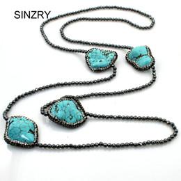2019 elegante halsketten perlen SINZRY 2018 NEUE mode Naturstein perlen lange halsketten elegante kubikzircon unregelmäßigen stein halskette persönlichkeit schmuck rabatt elegante halsketten perlen