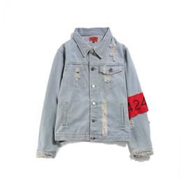 Wholesale sweatshirt pocket pattern - Sale Men's Hip Hop Jeans Jacket Navy Blue Coat Women Tops Spring And Autumn Harajuku Summer Sweatshirts Men Womens Clothing Denim