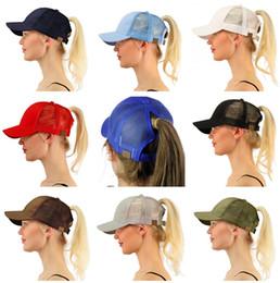 Wholesale Pink Pony Tail - CC Ponytail Cap Messy Bun Women Ponytail Caps Cap Fashion Girl Basketball Hats Back Hole Pony Tail KKA438351
