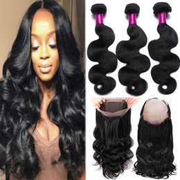 Wholesale Full Weaves - 7A Hair Brazilian Virgin Hair Straight & Body Wave 3 Bundles With 360 Full Lace Closure Human Hair Weaves 360 Lace Frontal with 3 Bundles