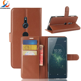 Wholesale Xperia Wallet - For Sony Xperia XZ2 Compact XA2 Ultra L2 XA1 Plus XZ XZ1 Litchi Skin Flip Wallet Card Leather Case Stand Holder Cover 30pcs 50pcs