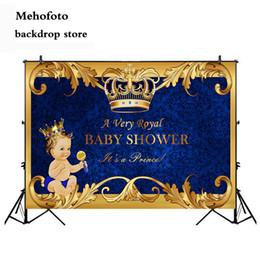 Backdrops bleu en Ligne-vente en gros royal prince bébé douche toile de fond or couronne royal bleu photographie fond vinyle bienvenue petit garçon baby shower 935