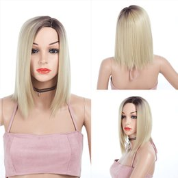 14inch Silky Straight Ombre Blonde Bob Wigs With Bands Medium Long Synthetic Hair Wigs For White Women Cosplay 188g Deals
