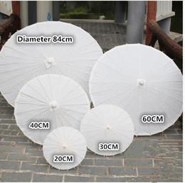 Wholesale Paper Crafting - bridal wedding parasols White paper umbrella Chinese mini craft umbrella 5 Diameter:20,30,40,60,84cm wedding favor decoration