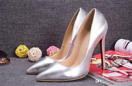 Wholesale Silver Low Heeled Pumps - Red Silver Patent Leather with Spikes Red Bottom High Heels Women Shoes 12cm High Heel Ladies Female Shoes Low Footwear Pumps Wedding Shoes