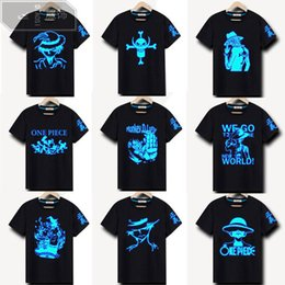 Wholesale light brown shirt men - 100% Cotton Rock Punk Hip Hop Neon Print Party Club Night Light Punk Tops Tees ONE PIECE LUFFY Luminous T-shirt Boys
