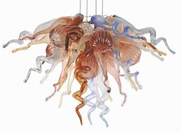 Wholesale Cheap Ceiling Chandeliers - Hand Blown Glass Flush Mount Chandelier Small Cheap Ceiling Light Multicolor Glass Hanging Chain Chandelier for New House Decoration