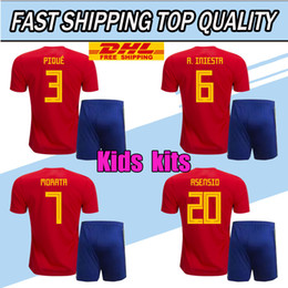 Wholesale Wholesale Youth Shirts - DHL free shipping 2018 Kids Spain Jersey boy youth Spain kits RAMOS ISCO SERGIO INIESTA ASENSIO THIAGO MORATA home soccer shirt Football set