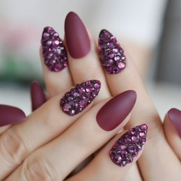2019 stilettos viola di strass 3D Almond Stiletto Matte False Nail Finger Tips Uva viola strass bordeaux Pre Design Falso strumento Nail Art fai da te stilettos viola di strass economici