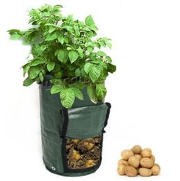 Wholesale Clamshell Wholesale - 45*35cm Planting Bags With Window Leakage Proof Garden Potato Grow Bag Felt Cloth Gardens Pots Clamshell Planters CCA9248 70pcs