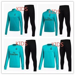 Wholesale Green Suit Pants - 17 18 kids Real Madrid survetement football GREEN tracksuits 2018 Ronaldo Long pants wear YOUTH training suit jacket kit CHANDAL SET