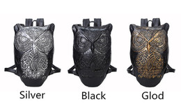 Wholesale Golf Punk - DHL Fedex Shipping 3D Printed Owl Adult Backpack Men & Women's Casual Backpacks Boys & Girls Outdoors Bags Teenager Punk PU Owls Bag