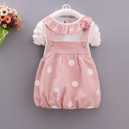 Wholesale Baby Summer Dresses 12 Months - Autumn 2018 new girls' wear baby carry dress suit cotton casual cartoon fashion