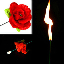 Wholesale Rose Flower Metal - A dozens 12 pieces Valentine`s Days Gogogo Magical Trick Fire To Rose Flower for Stage Property Performance Show Party Lover's Gift