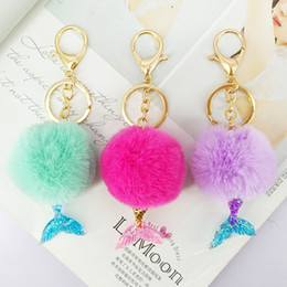 Wholesale trendy ornaments - Mermaid Keychain Fur Pompom 5cm Ball Key Chains Decorative Pendant Women Bag Car Key Ornaments Fashion Jewelry Mom Gifts