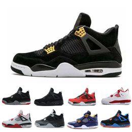 Wholesale military royal - Cheap 4 4s Men Basketball Shoes Game Royal Thinker Oreo Eminem White Cement Pure Money Toro Bravo Bred Military Blue Cavs SportS Sneakers