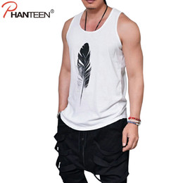 Wholesale Modal Clothing Wholesale - Wholesale- Phanteen Summer Sleeveless Tank Tops Feather Print White Black Loose Tanks Workout Excercise Fashion Vests Men Brand Clothing