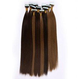 En kaliteli 100g 40 adet Tutkal Cilt Atkı PU Bant İnsan Saç uzantıları 18 20 22 24 inç Brezilyalı Hint saç uzatma supplier 22 indian hair skin weft nereden 22 hint saç derisi atkısı tedarikçiler