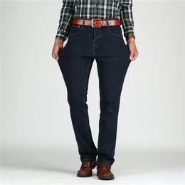 Jeans reta alta cintura homens on-line-Castelo de tigre Mens Jeans de Cintura Alta de Algodão Grosso Clássico Jeans Stretch Preto Azul Macho Jeans Calças Reta Primavera Outono Homens Macacões