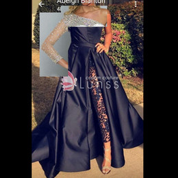 Wholesale Long Delicate Prom Dresses - High Quality Single Sleeve Satin Prom Party Dresses with Delicate Crystal Beadings Factory Custom Make Special Occassion Gown
