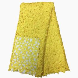 Canada Tissus en dentelle guipure africaine de haute qualité en dentelle jaune pour les tissus en dentelle negrian pour le mariage mariée 5 mètres par lot cheap african yellow lace fabric Offre