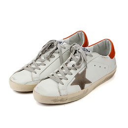 Wholesale Small Heeled Silver Shoes - 2018 Fashion Genuine Leather Small Dirty Shoe Silver Star and Orange Heel Breathable Popular Brand Small White Shoe for Men or Women