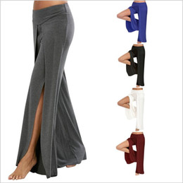 Discount ladies harems pants - Yoga Pants Women Wide Leg Pants Casual Loose Bloomers Dance Sexy Palazzo Capris Solid Trousers Fashion Harem Pants Lady Long Slacks B3744