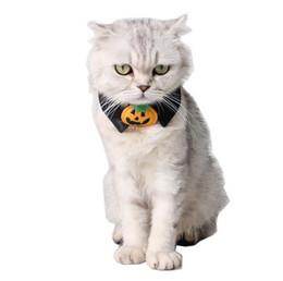 Cravatta decorazioni per le feste online-Regolabile Nero Zucca Piccolo Cane Cucciolo Gatto Pet Bow Collare Tie Halloween Party Decorazione Cravatta GA377