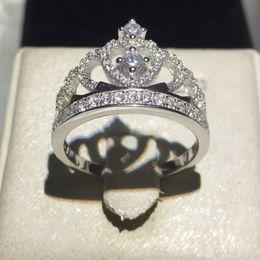 Wholesale Crown Ladies Rings - Handmade Fashion Lady Crown Ring 925 Sterling Silver AAAAA Zircon CZ Engagement Wedding Rings