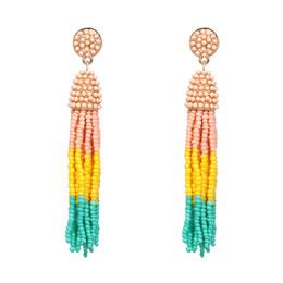 Wholesale Handmade Jewelry For Sale - Multicolor bohemian long tassel earrings for women ladies seed beads handmade earings jewelry hot sale orecchini drop shipping