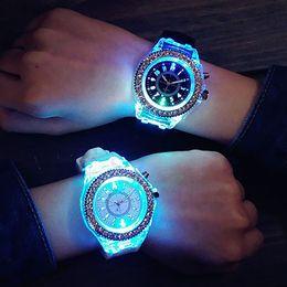 Wholesale Geneva Led - Hot! Unisex Geneva Sports Waterproof LED Backlight Silicone Band Quartz Wrist Watch