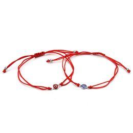 Encantos de pulseiras finas on-line-Novo Comprimento Ajustável Fina Fio Vermelho Mal Olho Encantos Pulseira Corda Vermelha Corda Trançada Pulseiras Para Mulheres Homens Boa Sorte Jóias
