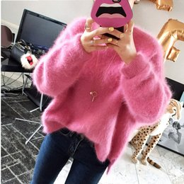 Pullover mohair online-SMTHMA 2018 Inverno New Fashion addensato caldo maglione mohair femminile manica lunga casuale colore solido Slim pullover semplice