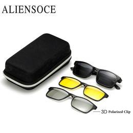 Wholesale clip glasses night - Men Polarized Magnetic 3PCS Clip TR90 Myopia Glasses Lightest Eyeglasses Frame Man Sunglasses Magnet Clip Spectacles Night Vison