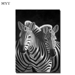 Wholesale zebra home decor - Hanemade oil painting oil painting wall zebra animal canvas picture art home living room kid room wall decor oil painting dealer