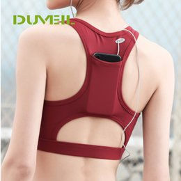 бюстгальтер Скидка Korean Version Vest I Back Pocket Design Women Sports Bra Sexy Fitness Yoga Bra Compression Workout Tops Quick Dry Underwear