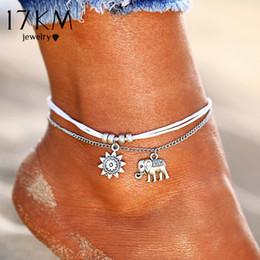 17KM Vintage Star Elephant Tobilleras Pulsera Para Las Mujeres Boho Colgante de Doble Capa Tobillera Bohemia Foot Jewelry Regalo envío de La Gota desde fabricantes