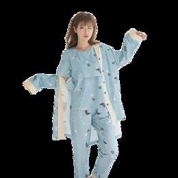 Pflegekleidung tragen online-8221 # 3 Teile / sätze Gedruckt Baumwolle Still-Pyjamas Mode Nachtwäsche Home Wear für Schwangere Schwangerschaft Nachtwäsche Anzug