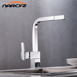 Wholesale Single Square Kitchen Faucet - Free Shipping New chrome pull out kitchen faucet square brass sink kitchen faucets pull out tap XT-18