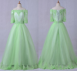 Wholesale Lime Green Flowers - Lime Green Vintage Lace Prom Dresses With Sleeves Off the shoulder Applique Tulle A line Corset Back Dresses Evening Wear Party Formal Gowns