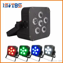 Luci dmx senza fili della batteria online-DHL 6x8w LED Par Light Wireless 4in1 Batteria led piatto Wireless DMX LED Stage Batteria alimentato luci par piatte Club Lighting 1010