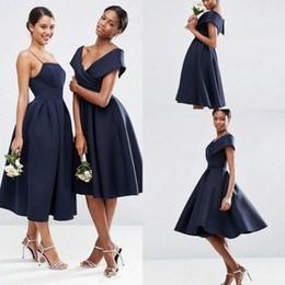 Wholesale Olive Green Tea Length Satin - Vintage Short Navy Blue Bridesmaid Dresses 2018 Off the Shoulder Tea Length Bridesmaid Prom Bridesmaids Gowns Wedding Party Vestidos