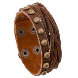 botones de presión de bronce Rebajas Nueva Moda Vintage Brown de Cuero de Punto Botón de Bronce Remachado Pulsera de Los Hombres Pulsera Sujetador Broche de Joyería Accesorios Accessries Al Por Mayor