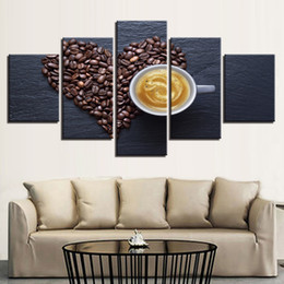 Wholesale Cup Coffee Pictures - Wall Art Pictures Home Decoration Posters Frame 5 Pieces Heart Coffee Beans Cup Living Room HD Printed Modern Painting On Canvas