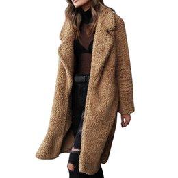 2018 Женщин Искусственного Меха Тедди Пальто Зимой Толстый Теплый Пушистый Длинные Шубы Мода Отворот Лохматый Куртки Пальто Плюс Размер Верхней Одежды от