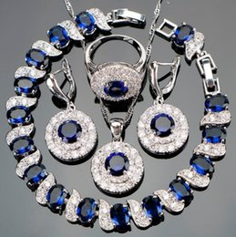 2019 conjuntos de jóias safira azul escuro Jóia de luxo Conjuntos de Jóias de Prata 925 Zircão Azul Nupcial Mulheres PingenteColar Brincos Com Pedras Naturais Pulseiras Presente Da Jóia
