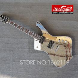 Instrumentos china online-Factroy custom New Arrival Mirror grietas paul stanley Guitarra Eléctrica 6 cuerdas China de calidad superior Alien Guitarra instrumentos musicales